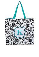 Home Accents® Monogram Black Vines Floral Tote