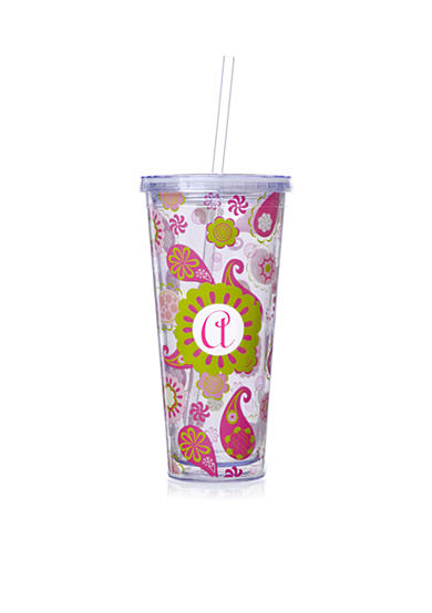Home Accents® Monogram Paisley Tall Tumbler 20 oz - More Letters Available