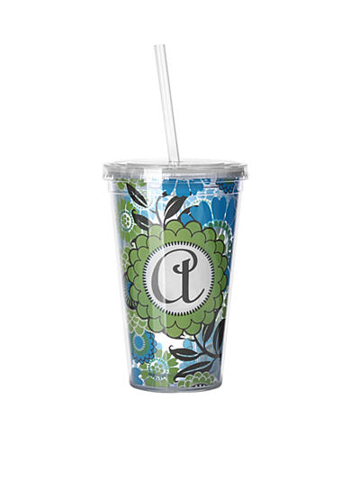Home Accents® Monogram Blue Floral Tumbler 16 oz - More Letters Available