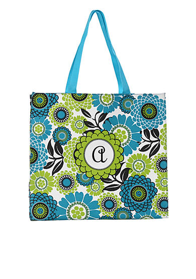 Home Accents® Monogram Blue Floral Shopper Tote