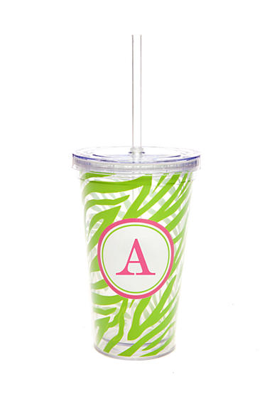 Home Accents® Monogram Green Zebra 16-oz. Tumbler - More Letters Available