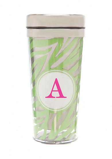 Home Accents® Monogram Green Zebra Travel Mug - More Letters Available