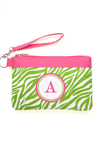Home Accents® Monogram Green Zebra Wristlet - More Letters Available