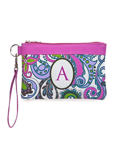 Home Accents® Monogram Purple Paisley Wristlet