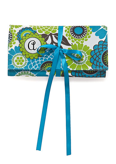 Home Accents® Monogram Blue Floral Jewelry Travel Case