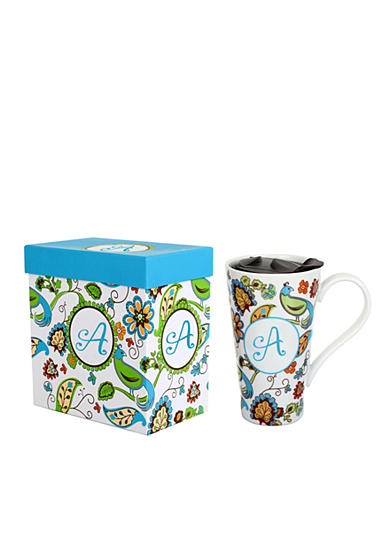 Home Accents® Monogram Bird Floral Boxed Latte Mug
