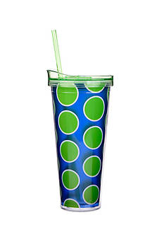 Home Accents Lime and Navy Polka Dot Tumbler