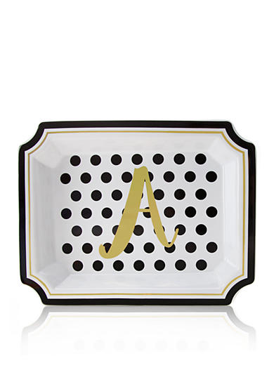 Home Accents® 9.25-in. Monogram Ceramic Tray