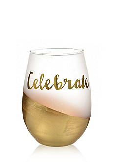 Home Accents 2-Piece 'Celebrate' Gold Foil Stemless Wine Glass Set