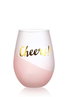 Home Accents® 2-Piece 'Cheers' Pink Foil Stemless Wine Glass Set