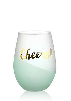 Home Accents 2-Piece 'Cheers' Mint Foil Stemless Wine Glass Set
