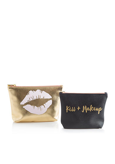 Home Accents® 2-Piece 'Kiss & Makeup' Cosmetic Bag Set