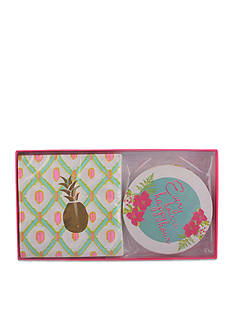Home Accents Tropical Pineapple Napkin and Coaster Set