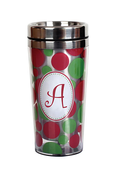 Home Accents® Monogram Holiday Dot Stainless Steel Mug