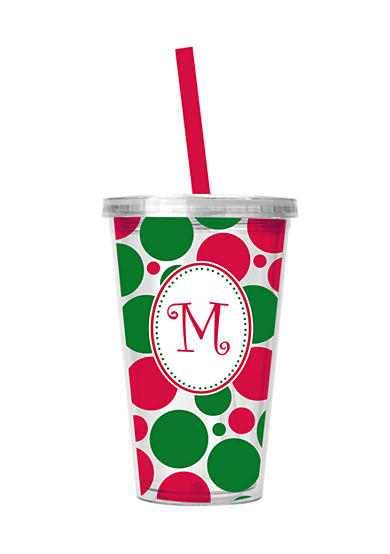 Home Accents® Monogram Holiday Dot Tumbler with Straw