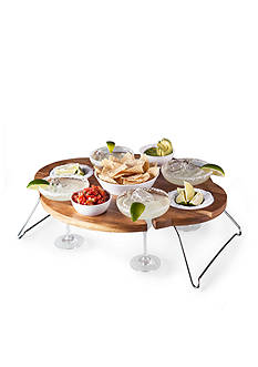 Legacy Heritage Collection by Fabio Viviani Margarita Chip And Dip Serving Table Acacia