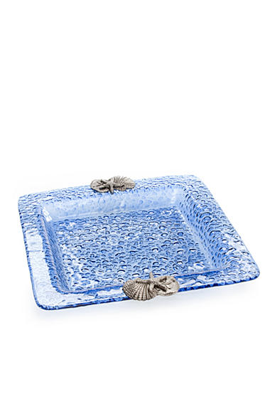 Home Accents® Blue Bubble Shell Square Plate