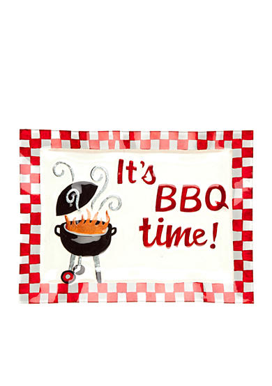 Home Accents® It's BBQ Time Hand Painted Glass Platter