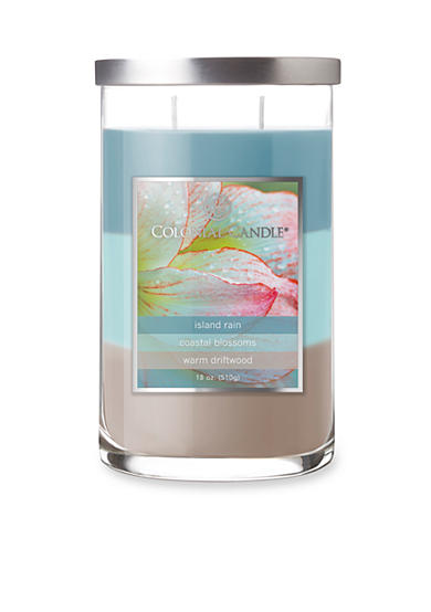 Colonial Candle® 18-oz. Trilayer Island Rain, Coastal Blossoms, & Warm Driftwood Candle