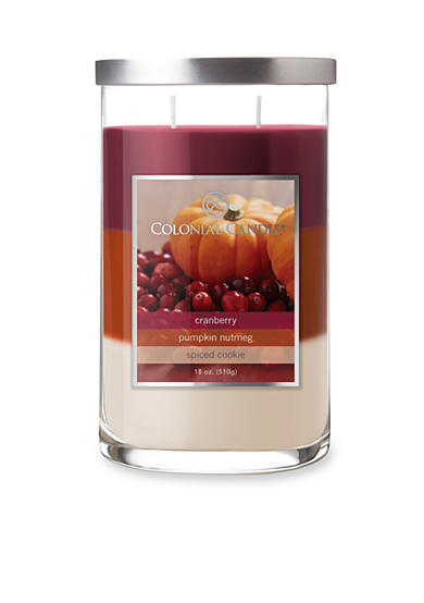 Colonial Candle® 18-oz. Trilayer Cranberry, Pumpkin Nutmeg, & Spiced Cookie Candle
