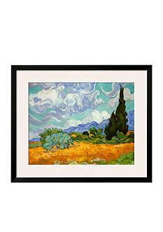 Art.com Wheatfield with Cypresses, c.1889, Framed Art Print