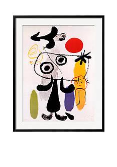 Art.com Figur Gegen Rote Sonne II, c. 1950 by Joan Mir, Framed Art Print