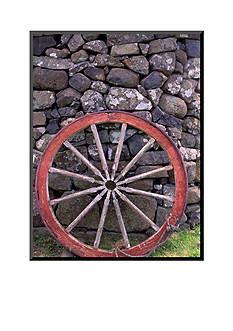 Art.com Rural Stone Wall and Wheel, Kilmuir, Isle of Skye, Scotland Mounted Photo Wood