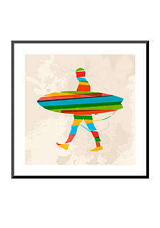Art.com Vintage Multicolor Surfer, Mounted Print