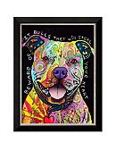 Art.com Beware of Pit Bulls by Dean Russo, Framed