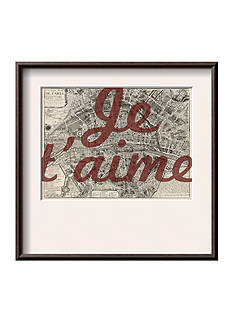 Art.com Je Taime - Paris, France, Vintage Map, Framed Giclee Print