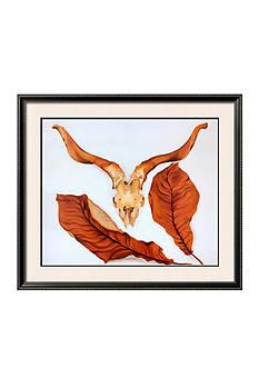 Art.com Ram's Skull with Brown Leaves by Georgia O'Keeffe, Framed Art Print