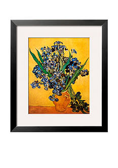 Art.com Vase of Irises Against a Yellow Background, c.1890 Framed Art Print Online Only