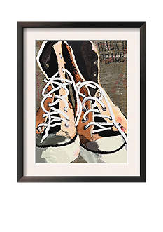 Art.com High Tops for Peace - Vintage Sneakers by Lisa Weedn, Framed Art Print