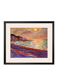 Art.com Beach at Pourville, Sunset, 1882 Framed Giclee Print - Online Only