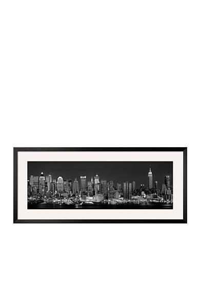Art.com West Side Skyline at Night in Black and White, New York, USA Framed Photographic Print - Online Only