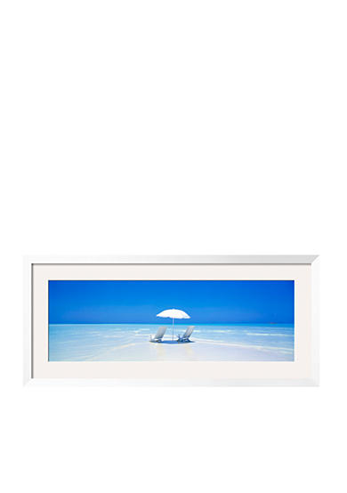 Art.com Beach, Ocean, Water, Parasol And Chairs, Maldives Framed Photographic Print