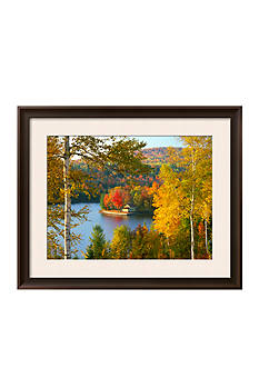 Art.com Summer Home Surrounded by Fall Colors, Wyman Lake, Maine, USA Framed Photographic Print