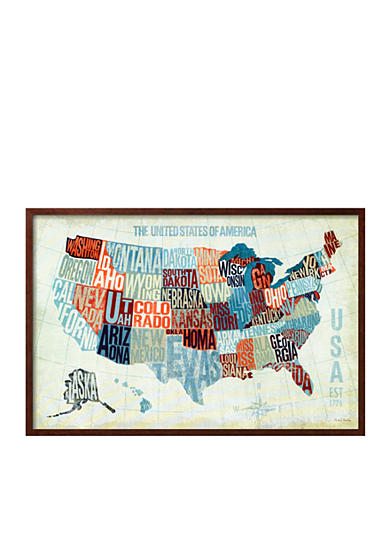 Usa Modern Blue Framed Art Print Online Only
