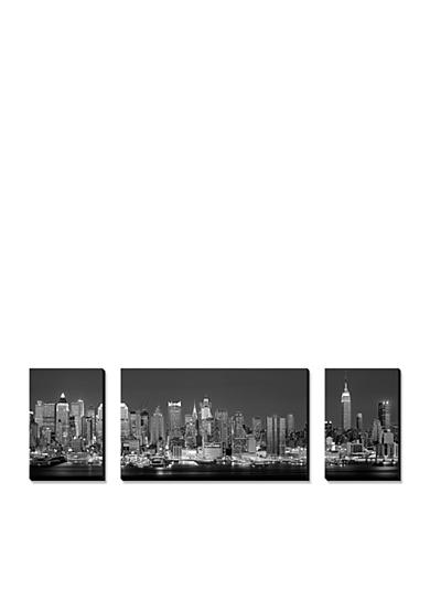 Art.com West Side Skyline at Night in Black and White, New York, USA, Canvas Art Set,-Online Only<br>