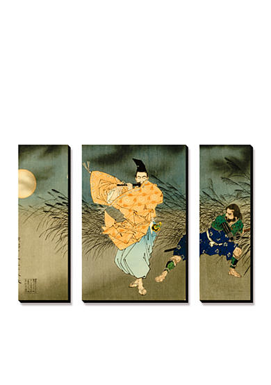 Art.com A Triptych of Fujiwara No Yasumasa Playing the Flute by Moonlight, Canvas Art Set,-Online Only