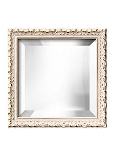 Art.com 12.3-in. W x 12.3-in. H Hampton White Wood Framed Mirror - Online Only