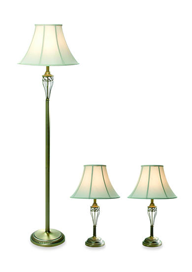 All the Rages Antique Brass Lamp Set 3-Pack