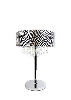 Elegant Designs Trendy Cascading Crystal And Chrome Table Lamp