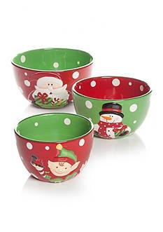 Home Accents Christmas Day Set of 3 Santa Mixing Bowls