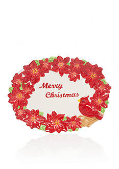 Home Accents Christmas Day Cardinal & Poinsettia Platter