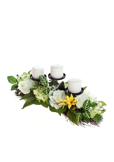Home Accents® White Rose Three Candle Holder