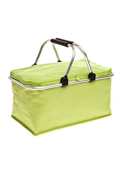 Home Accents® Green Non-insulated Picnic Basket