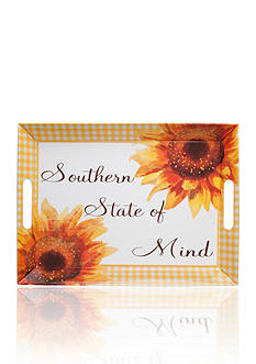 Home Accents® Yellow Gingham & Sunflower Serving Tray
