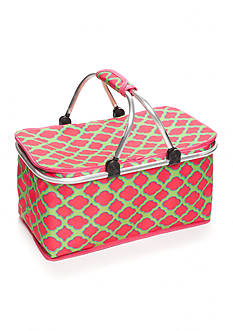 Home Accents® Pink & Lime Trellis Insulated Picnic Tote
