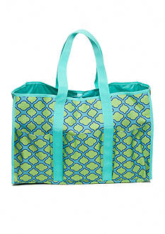 Home Accents® Multi-Pocket Rectangle Aqua Trellis Beach Tote